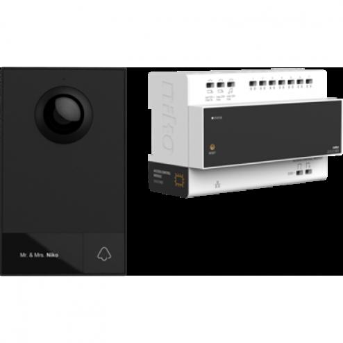 510-01001-Videokit, 2-draads, met controller en buitenpost, voor opbouw, 1 beldrukknop-niko