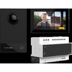 Videokit, 2-draads, met controller, buiten- en binnenpost, voor opbouw, 1 beldrukknop